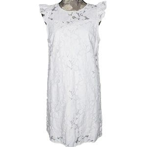 Anthropologie Monteau Sz L Dress White Lace Ruffle
